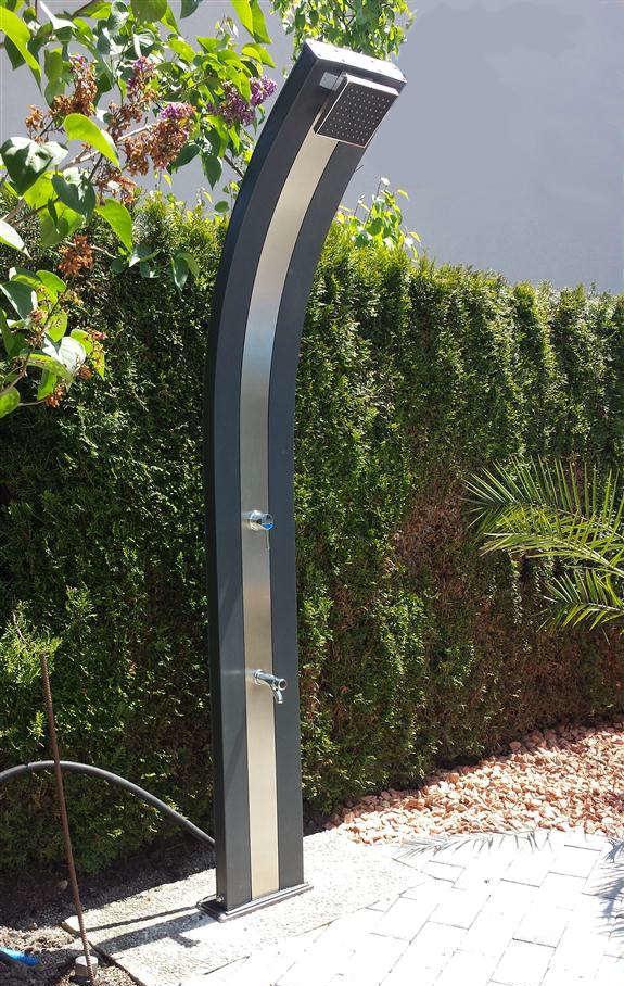 Solardusche 40lt alu tank fusswascher gartendusche for Gartendusche bodenplatte