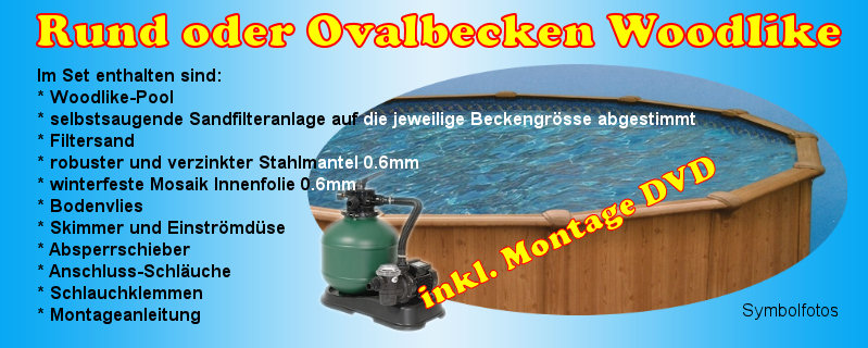 woodlike komplettset rundbecken ovalbecken stahlwandpool aufstellpool holzpool ebay. Black Bedroom Furniture Sets. Home Design Ideas